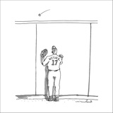 A baseball player watches a ball fly over a wall.  The back of his team je… - New Yorker Cartoon Stretched Canvas Print by Michael Crawford