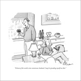 """""""Citizen of the world, wine connoisseur, husband. I may be  spreading myse…"""" - New Yorker Cartoon Stretched Canvas Print by Leo Cullum"""