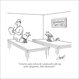 """I tried to make it from the windowsill to the top of the refrigerator. Ho…"" - New Yorker Cartoon Stretched Canvas Print by Tom Cheney"