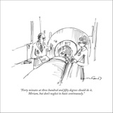 """Forty minutes at three hundred and fifty degrees should do it, Miriam, bu…"" - New Yorker Cartoon Stretched Canvas Print by Michael Crawford"