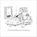 """""""I can't sleep. I think I'll get up and solve all my problems."""" - New Yorker Cartoon Stretched Canvas Print by David Sipress"""