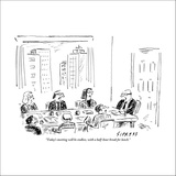 """""""Today's meeting will be endless, with a half-hour break for lunch."""" - New Yorker Cartoon Stretched Canvas Print by David Sipress"""