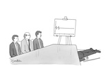 A man lays dead on the floor of a business presentation boardroom.  A pres… - New Yorker Cartoon Premium Giclee Print by Charlie Hankin