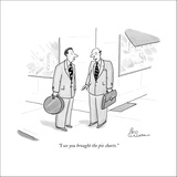 """I see you brought the pie charts."" - New Yorker Cartoon Stretched Canvas Print by Leo Cullum"