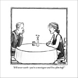 """""""It'll never work—you're a moviegoer and I'm a film buff."""" - New Yorker Cartoon Stretched Canvas Print by Matthew Diffee"""