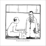 """It's your ear, nose, and throat."" - New Yorker Cartoon Stretched Canvas Print by Matthew Diffee"