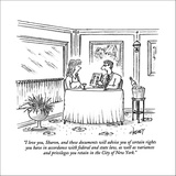 """""""I love you, Sharon, and these documents will advise you of certain rights…"""" - New Yorker Cartoon Stretched Canvas Print by Tom Cheney"""