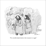 """""""I've considered portraiture, but everyone is so ugly."""" - New Yorker Cartoon Stretched Canvas Print by Leo Cullum"""
