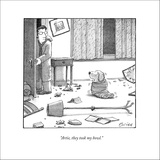 """Artie, they took my bowl."" - New Yorker Cartoon Stretched Canvas Print by Harry Bliss"