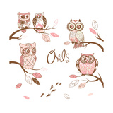 Owls, Trendy Card with Owls Sitting on the Brunches Prints by Alisa Foytik