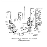 """""""Well, why can't YOU be more like a quiet woodland stream filled with trou…"""" - New Yorker Cartoon Stretched Canvas Print by David Sipress"""