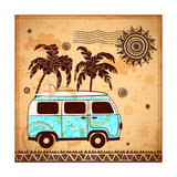 Retro Travel Bus with Vintage Background Giclee-tryk i høj kvalitet af  transiastock
