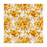 Golden Floral Vector Seamless Pattern Prints by  art_of_sun