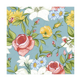 Seamless Pattern with Vintage Wildflowers Prints by Varvara Kurakina