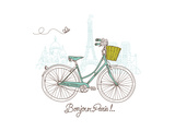 Riding a Bike in Style, Romantic Postcard from Paris Posters by Alisa Foytik