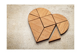 Heart Version of Tangram, a Traditional Chinese Puzzle Game Made of Different Wood Parts to Build A Art by  PixelsAway