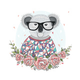 Cute Hipster Koala with Glasses and Flower Frame. Prints by cherry blossom girl
