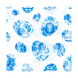 Blue Floral Easter Eggs Seamless Pattern Poster by  art_of_sun