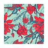 Seamless Background Flowers and Hummingbirds Prints by Varvara Kurakina