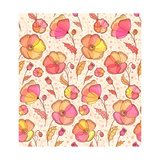 Red, Orange and Yellow Flowers Vector Pattern Prints by  art_of_sun