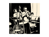 Vector Illustration of a Jazz Band with Double-Bass - Trumpet -Piano and Drum Print by  isaxar