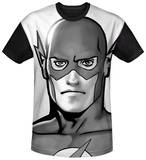 The Flash - Black and White Flash Head Black Back T-shirts
