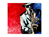 Vector Illustration of a Jazz Saxophone Player Prints by  isaxar