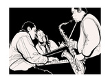 Vector Illustration of a Jazz Band Prints by  isaxar