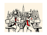 Vector Illustration of Two Jazz Men Playing in New York - Saxophone and Guitar Poster by  isaxar