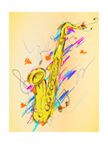 Saxophone Painting Vector Art Print by  NatanaelGinting