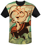 Popeye - Traveling Man Black Back Shirts