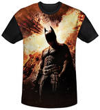 Dark Knight Rises - Fire Poster Black Back Shirts