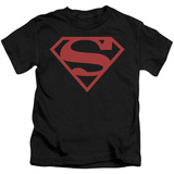 Juvenile: Superman - Red On Black Shield T-Shirt