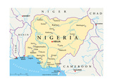 Nigeria Political Map Premium Giclée-tryk af Peter Hermes Furian