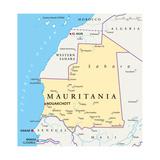 Mauritania Political Map Plakat af Peter Hermes Furian