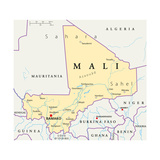Mali Political Map Giclee-tryk i høj kvalitet af Peter Hermes Furian