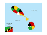 Saint Kitts and Nevis Map Prints by  tony4urban