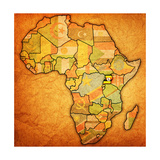 Uganda on Actual Map of Africa Poster af  michal812