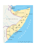 Somalia Political Map Posters by Peter Hermes Furian