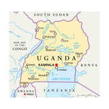 Uganda Political Map Posters by Peter Hermes Furian
