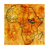 South Sudan on Actual Map of Africa Prints by  michal812