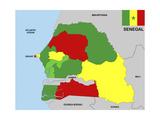 Senegal Map Premium Giclée-tryk af  tony4urban