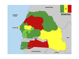 Senegal Map Posters by  tony4urban