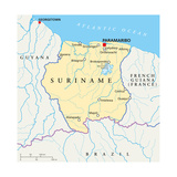 Suriname Political Map Poster by Peter Hermes Furian