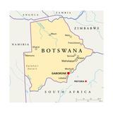 Botswana Political Map Plakater af Peter Hermes Furian
