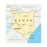 Kenya Political Map Plakat af Peter Hermes Furian