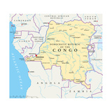 Congo Democratic Republic Political Map Posters by Peter Hermes Furian