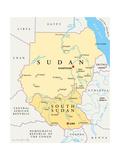 Sudan and South Sudan Political Map Lámina por Peter Hermes Furian