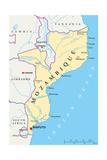 Mozambique Political Map Plakater af Peter Hermes Furian