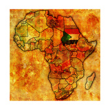 Sudan on Actual Map of Africa Print by  michal812